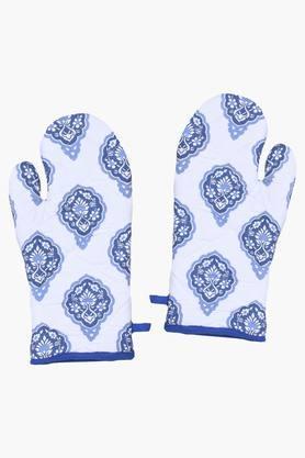 HOUSE THISMittikala Parchin Kari 100% Cotton Set Of 2 Gloves - Blue