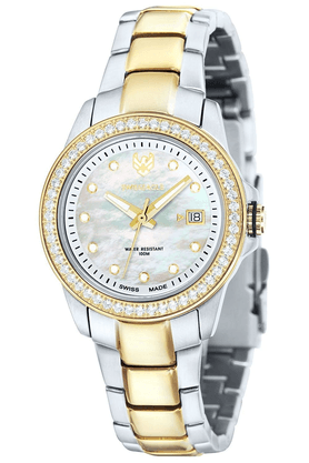 SWISS EAGLE Ladies Watch With Rose Gold Two Tone Metallic Strap And Round Dial - 6033-55