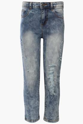 Boys 5 Pocket Stone Wash Distressed Jeans
