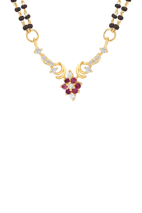 Mahi Gold Plated Alliance Mangalsutra Pendant with CZ & Ruby for Women PS1193519G2