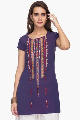 IMARAWomens Round Neck Embroidered Tunic
