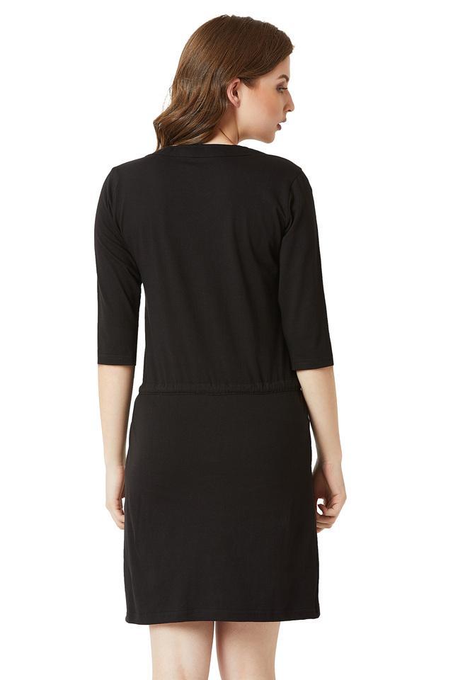Womens Round Neck Solid Zippered Mini Shift Dress