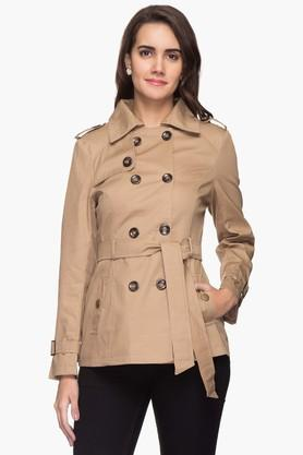 Womens Solid Trench Jacket