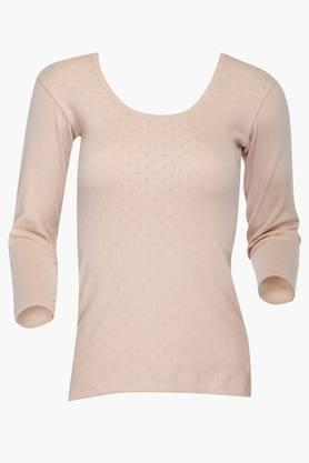 LOVABLE Womens Round Neck Solid Knitted Thermal