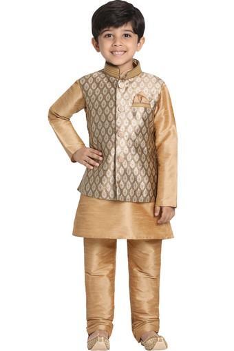 VASTRAMAY -  GoldKurta Pyjama Jacket Set - Main