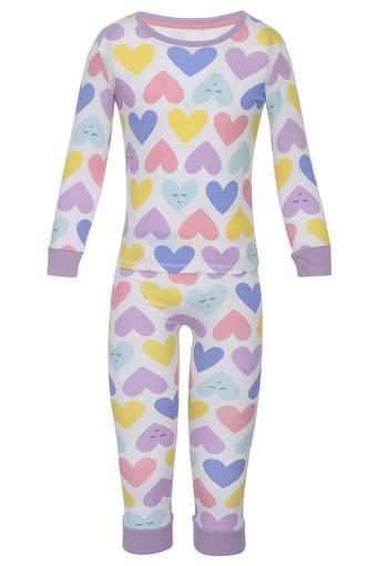Girls Round Neck Printed Top and Pant Set