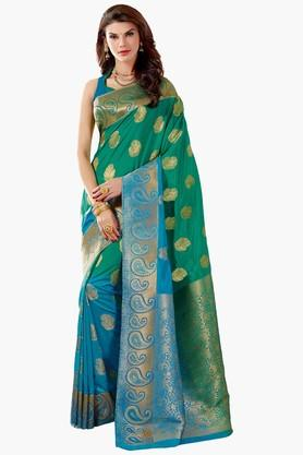 ASHIKA Womens Colour Block Golden Weave Saree - 201773709