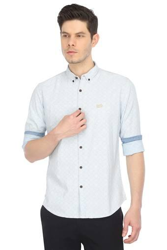 Mens Button Down Collar Printed Casual Shirt