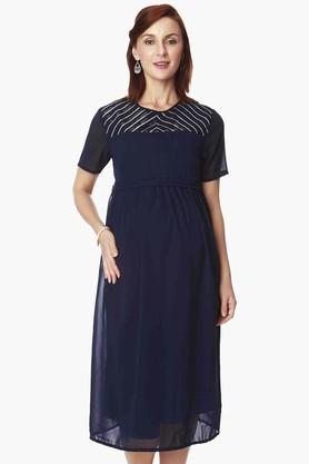 NINE MATERNITY Womens Round Neck Solid Dress
