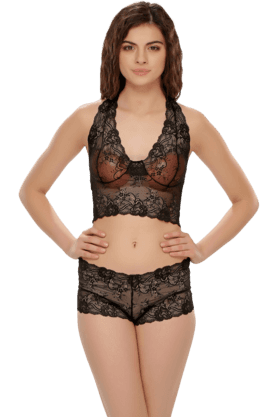 Set Of Lace Halter Style Bralet And Panty