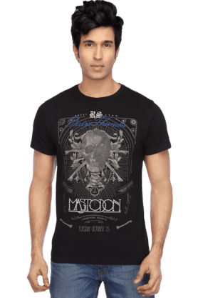 Mens Short Sleeves Slim Fit Round Neck Print TShirt