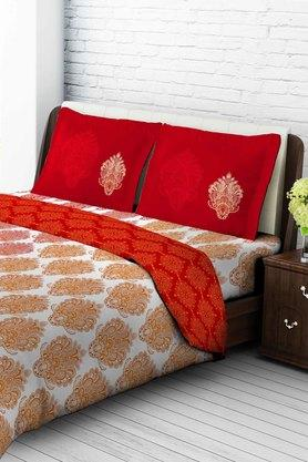 TANGERINE Cotton Printed Double Bedsheet And Pillow Set