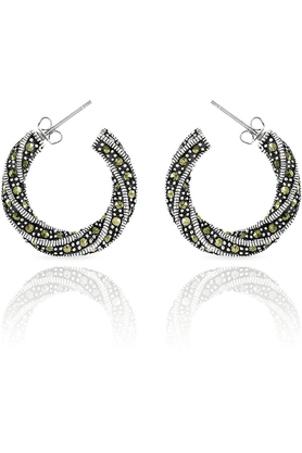 MAHI Mahi Rhodium Plated Twisted Elegance Earrings Made With Swarovski Marcasite For Women ER1107045R
