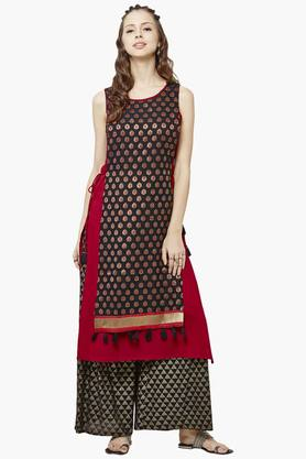 GLOBAL DESI Womens Round Neck Layered Printed Kurta