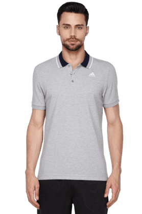 ADIDAS Mens Short Sleeve Solid Polo T-Shirt