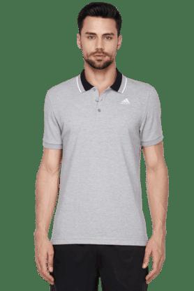 ADIDASMens Short Sleeve Solid Polo T-Shirt