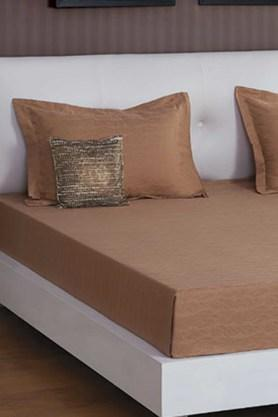 ST CLOUD Brown 300 TC Jacquard King Bedsheet With 2 Pillow Cover (Bedsheet Set (King)