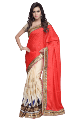 DEMARCA Women Georgette Saree (Buy Any Demarca Product & Get A Pair Of Matching Earrings Free) - 200875601