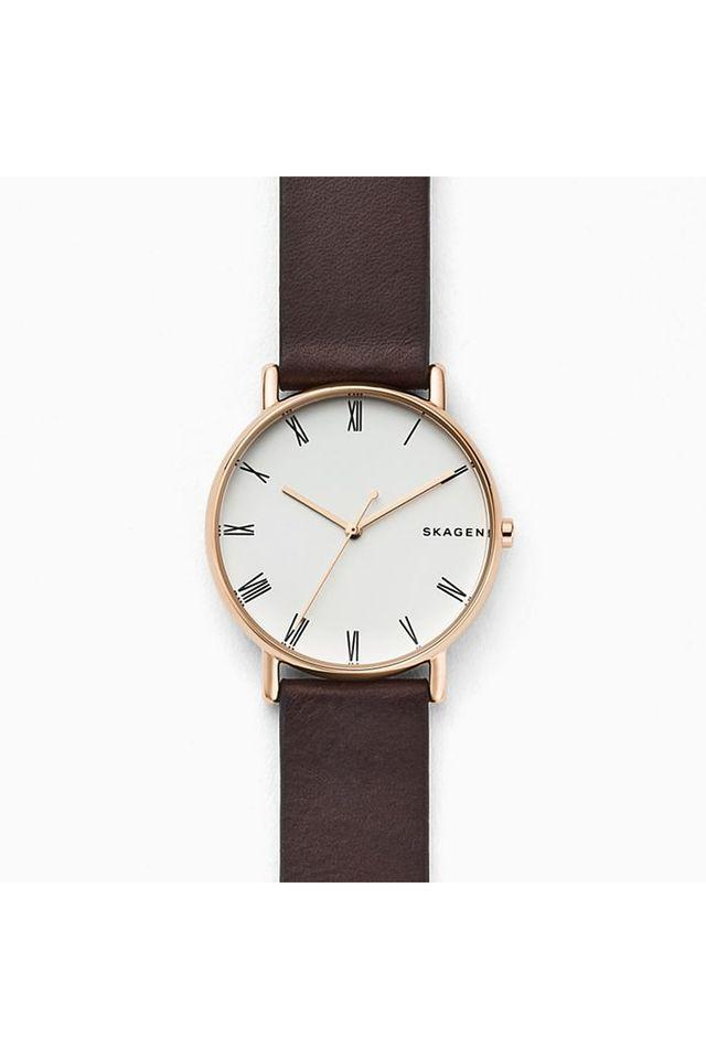 Unisex White Dial Leather Analogue Watch - SKW6493