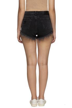 Womens 5 Pockets Rinse Wash Shorts