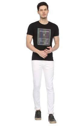 Mens Straight Slim Fit Coated Jeans