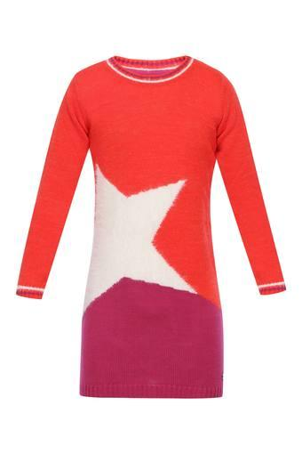 Girls Round Neck Printed Sweater Dress