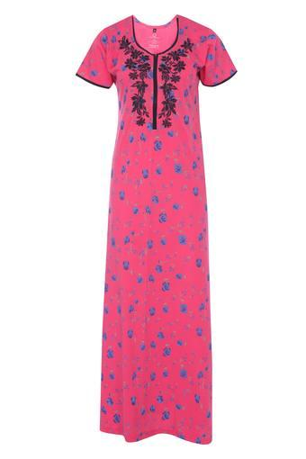 Womens Round Neck Floral Printed Night Gown
