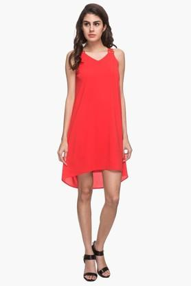 Womens V Neck Solid Dipped Knee Length Dress