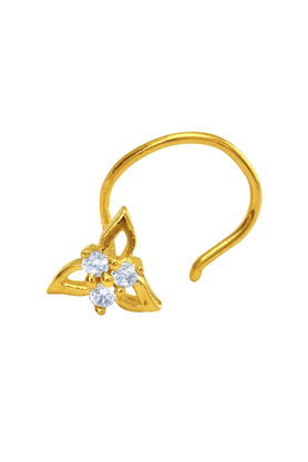 MAHI Gold Plated Tri-petals Nosepin With CZ For Women NR1100139G