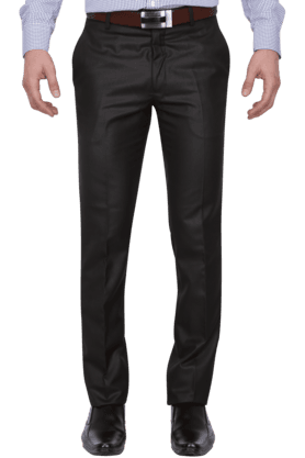 VETTORIO FRATINIMens Flat Front Slim Fit Solid Formal Trousers