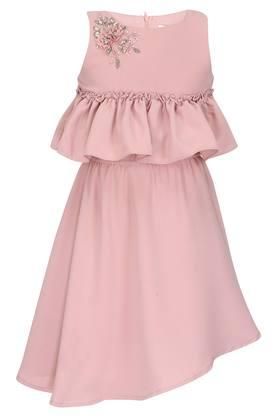 Girls Round Neck Embellished Asymmetrical Dress