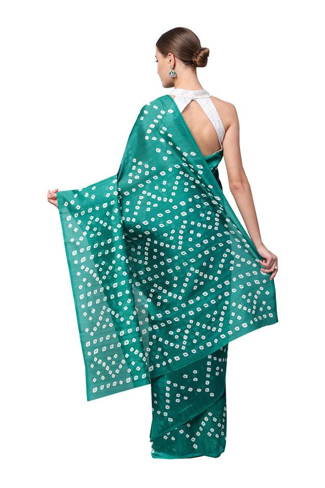Womens Bandhni Print Saree with Blouse Piece