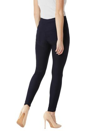 Womens Relaxed Fit High Waist Coated Jeggings with Patch Pocket