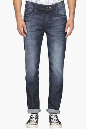 FLYING MACHINE Mens Tapered Fit 5 Pocket Heavy Wash Jeans (Micheal Fit)