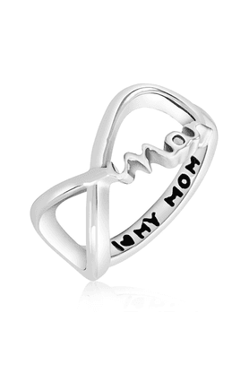 MAHI Mahi Rhodium Plated Mother's Day Special Love Mom Ring For Women FR1100631R