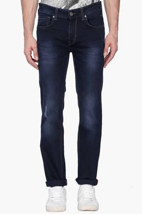 LOUIS PHILIPPE JEANS Mens Mild Wash Whiskered Jeans