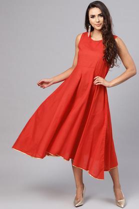Womens Layered Fit Round Neck Printed Layered Dress