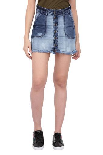 Womens Stone Wash Mini Skirt