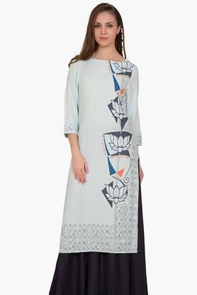 DESI BELLE Womens Printed Round Neck Kurta - 201828998