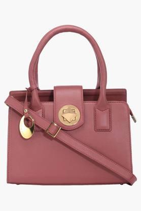 PHIVE RIVERSWomens Leather Metallic Lock Closure Tote Handbag