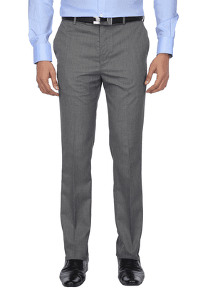 ARROWMens Flat Front Slim Fit Solid Formal Trousers