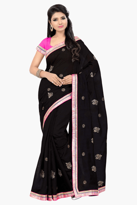 DEMARCAWomens Embroidered Saree (Buy Any Demarca Product & Get A Pair Of Matching Earrings Free) - 201151675_9212