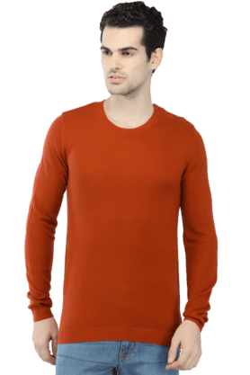CELIOMens Full Sleeves Round Neck Slim Fit Solid Sweater