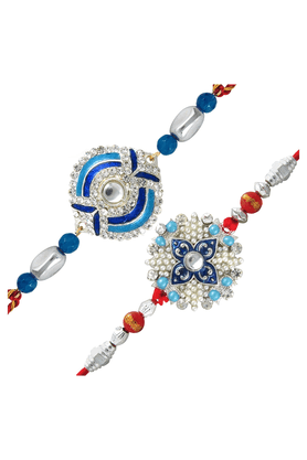 MAHI Combo Of Ethereal Rhodium Plated Two Rakhis