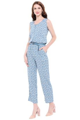 Womens Round Neck Printed Jumpsuit
