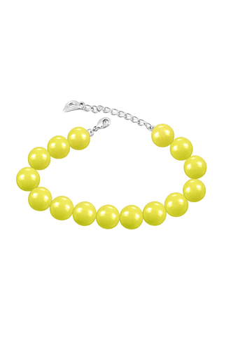 Rhodium Plated Pearl Crystal Neon Yellow Bracelet With Swarovski Elements For Women Br1104602rnyel