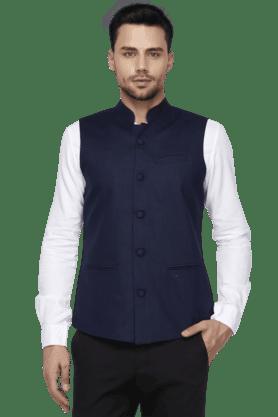 Mens Regular Fit Linen Rich Nehru Jacket