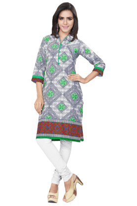 DEMARCA Womens Printed Kurta (Buy Any Demarca Product & Get A Pair Of Matching Earrings Free) - 200936943