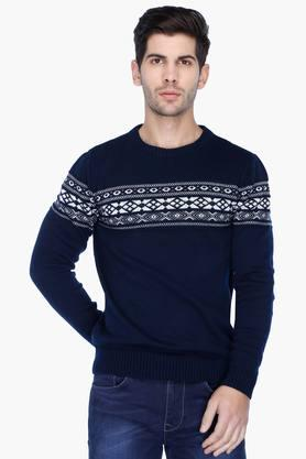 UNITED COLORS OF BENETTON Mens Regular Fit Printed Sweater - 201225843