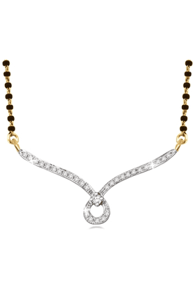 SPARKLES Gold Mangalsutra With Diamond Pendant Set N8115